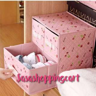 Pink Cherry Print Drawers Closet Organizer Storage Box container underwear bra socks box