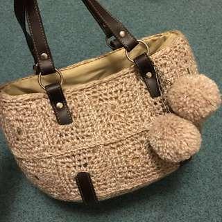 👜編織籐毛線手提包
