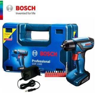 BOSCH Professional GSR 1000 Cordless Drill Driver + Extra Screwdriver Bits Set (9F4 0L1) - Fulfilled by GTE SHOP
