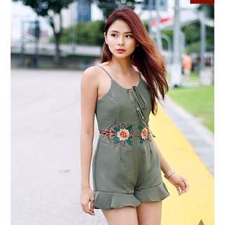 INTRICATE EMBROIDERY PLAYSUIT (OLIVE)