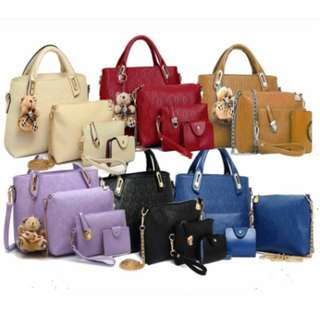 READY STOCK 5 in 1 SOKANO Synthetic Leather Women Tote Bag CS 121(Free Shipping)