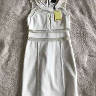 Brand new white mesh cut out Bardot dress size 6