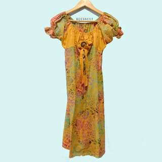 Dress Batik Kuning Jogjakarta