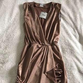Brand New ASOS bronze brass short wrap dress 6