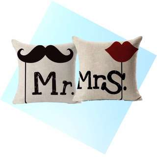 [Ready Stock] Mr and Mrs Cushion Covers