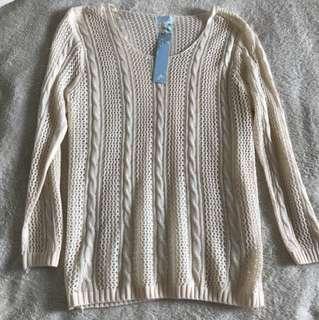 Brand new beige knit jumper top size S / M