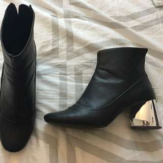 Zara metallic heel boots size 7