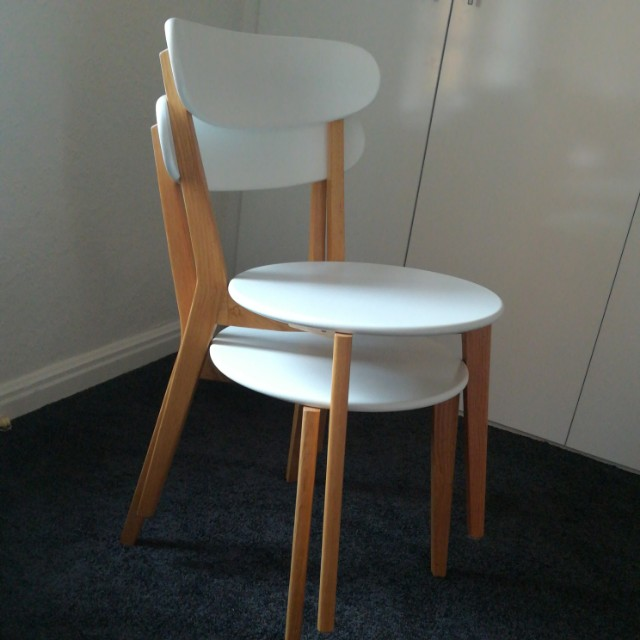 2 x white & blonde wood chairs