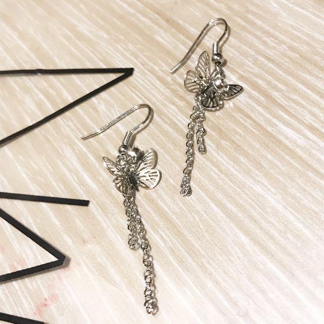 全新蝴蝶水鑽耳環