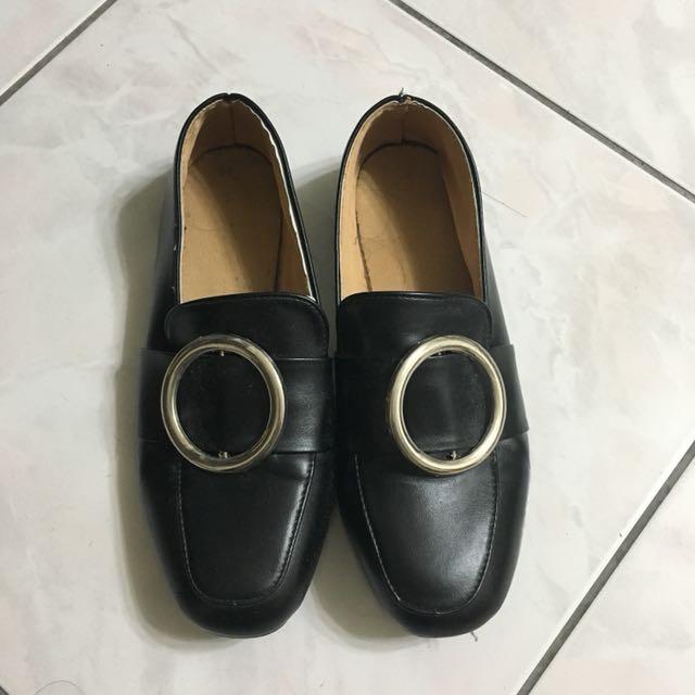 黑色圓環平底鞋