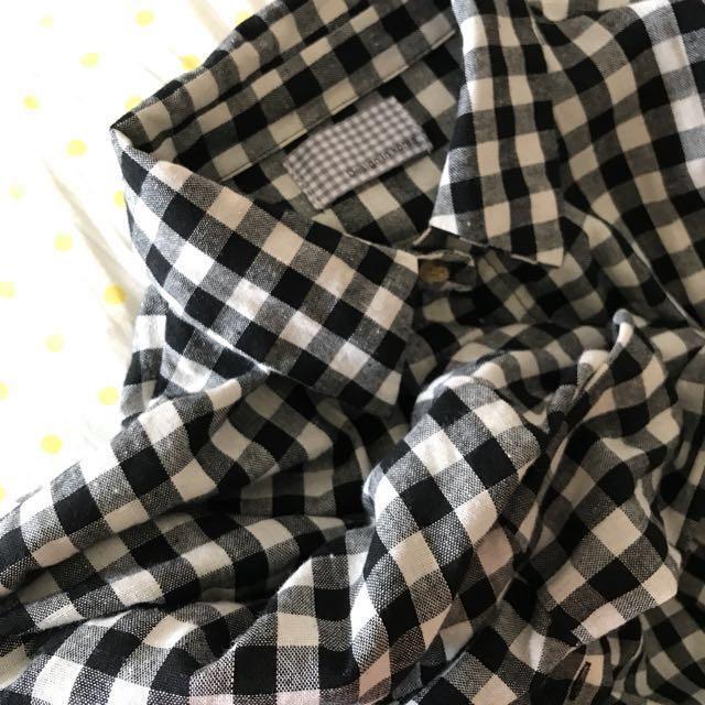 黑白格紋長襯衫