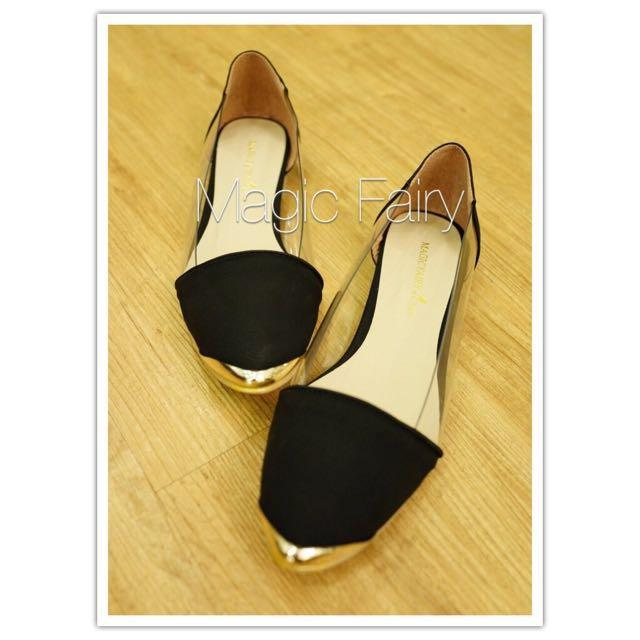 透明尖頭平底鞋