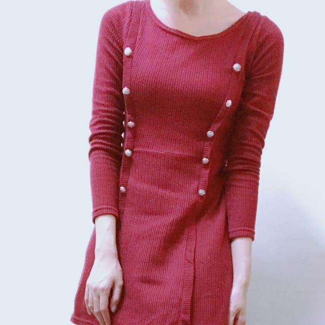 酒紅針織連身裙
