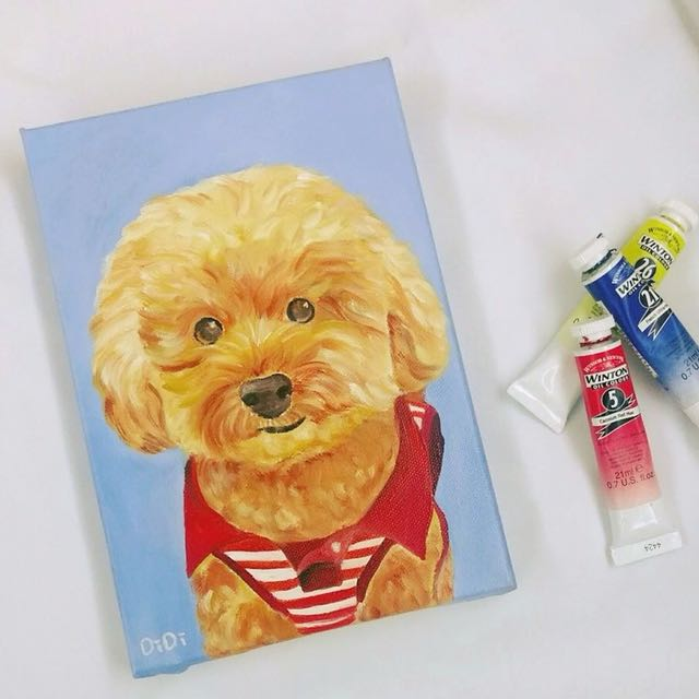 客製夠狗寵物畫(油畫)