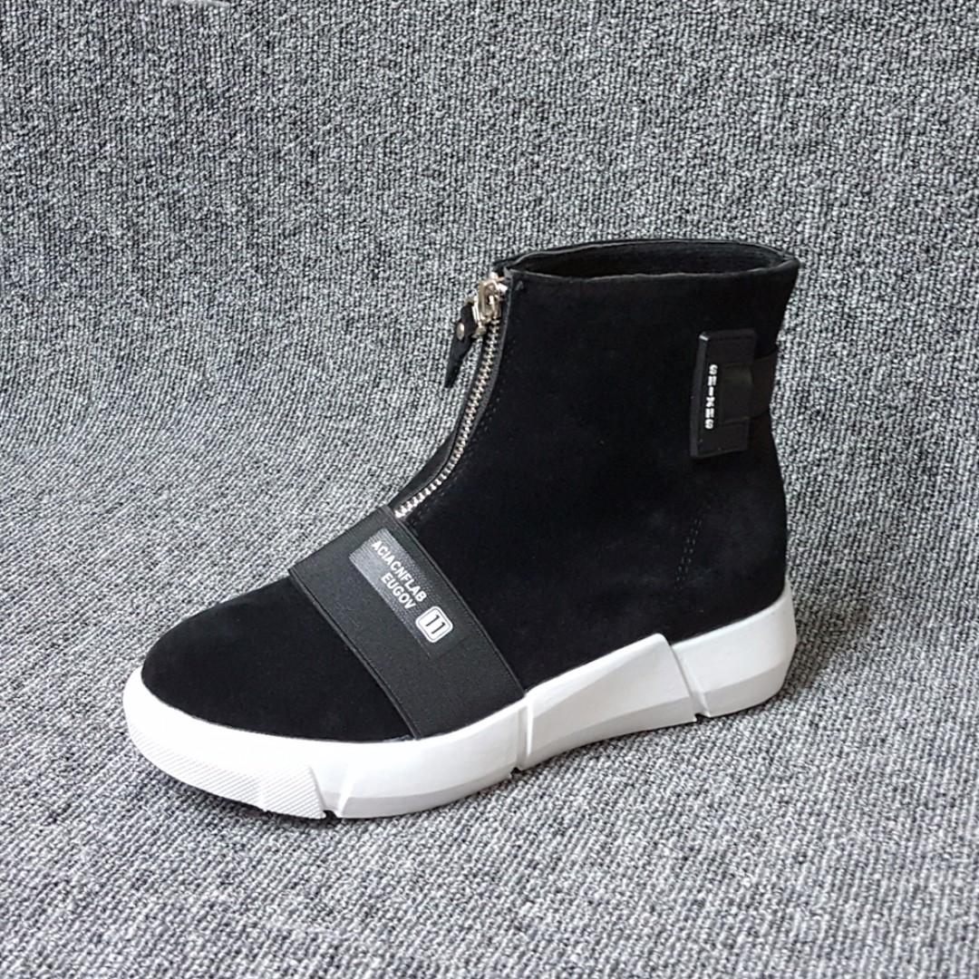 韓系黑白潮流絨布前拉鍊短筒休閒鞋-短靴-女鞋