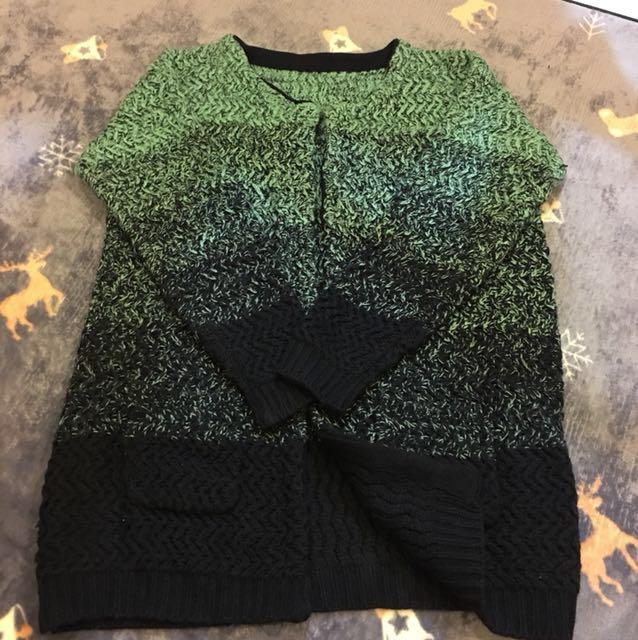 湖水綠漸層針織毛衣外套