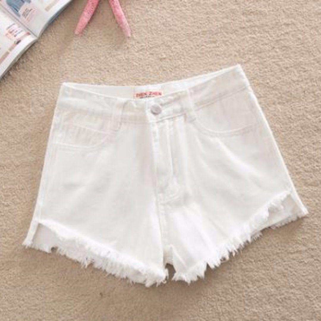 白色高腰牛仔短褲 25腰