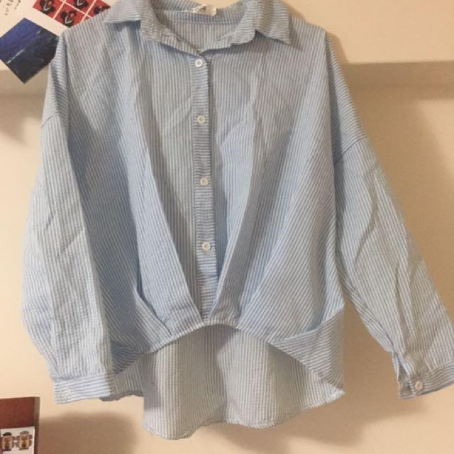 前短後長 條紋襯衫