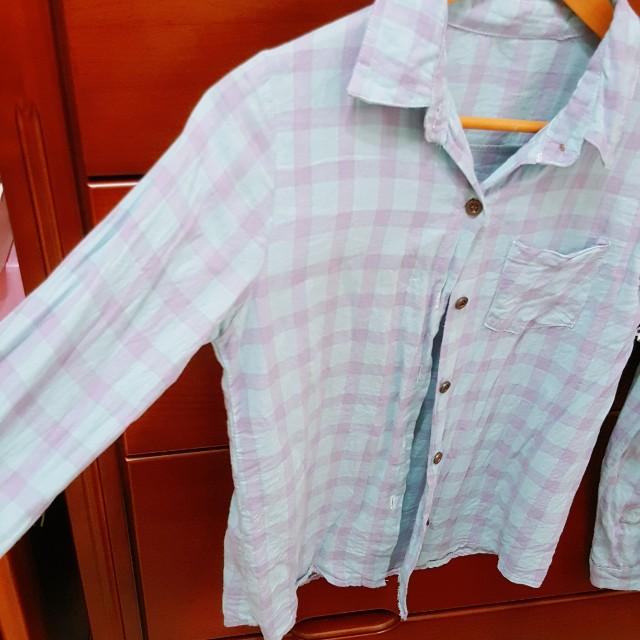 藍紫 格紋 棉質 襯衫