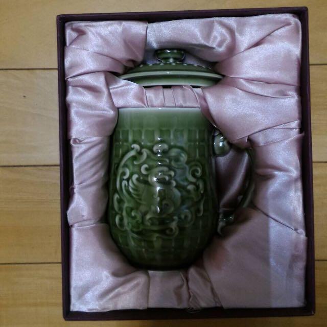 乾唐軒 活瓷 喜鳳來儀杯 綠釉