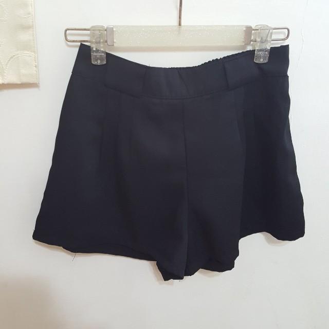 鬆緊 雪紡 黑 西裝褲 短褲