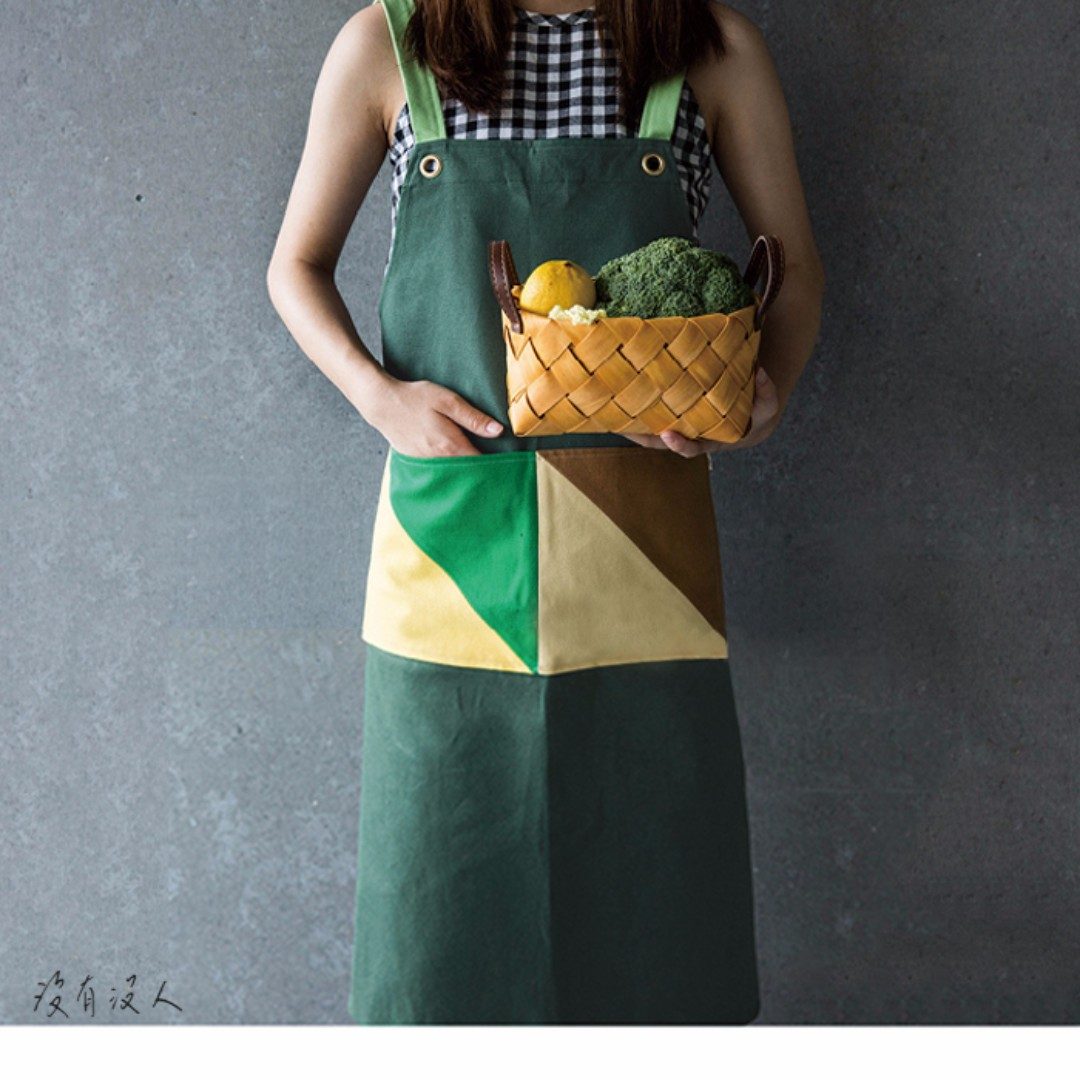 質感生活。棉帆綁帶圍裙 幾何色塊 大口袋工作圍裙 亮眼撞色 口袋好收納 北歐 園藝 手做職人 工作服 咖啡館。沒有沒人