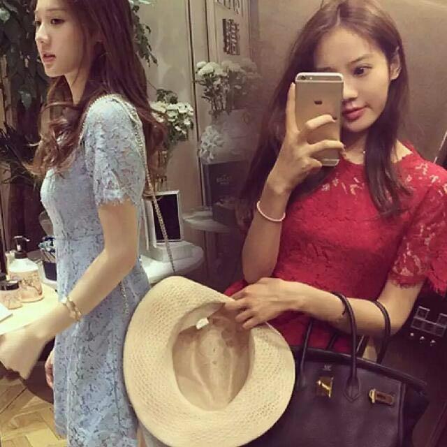 現貨 限量熱賣款 自留款 多色 連身裙 蕾絲洋裝 紅 藍 黑 洋裝 喜宴 晚宴 春酒 尾牙 洋裝 套裝