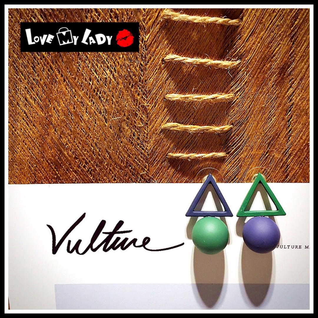 個性小積木 歐美幾何風 紫綠拼色 不對稱 空心三角形 立體球形 圓型 耳環 耳針【LoVe My LaDy】