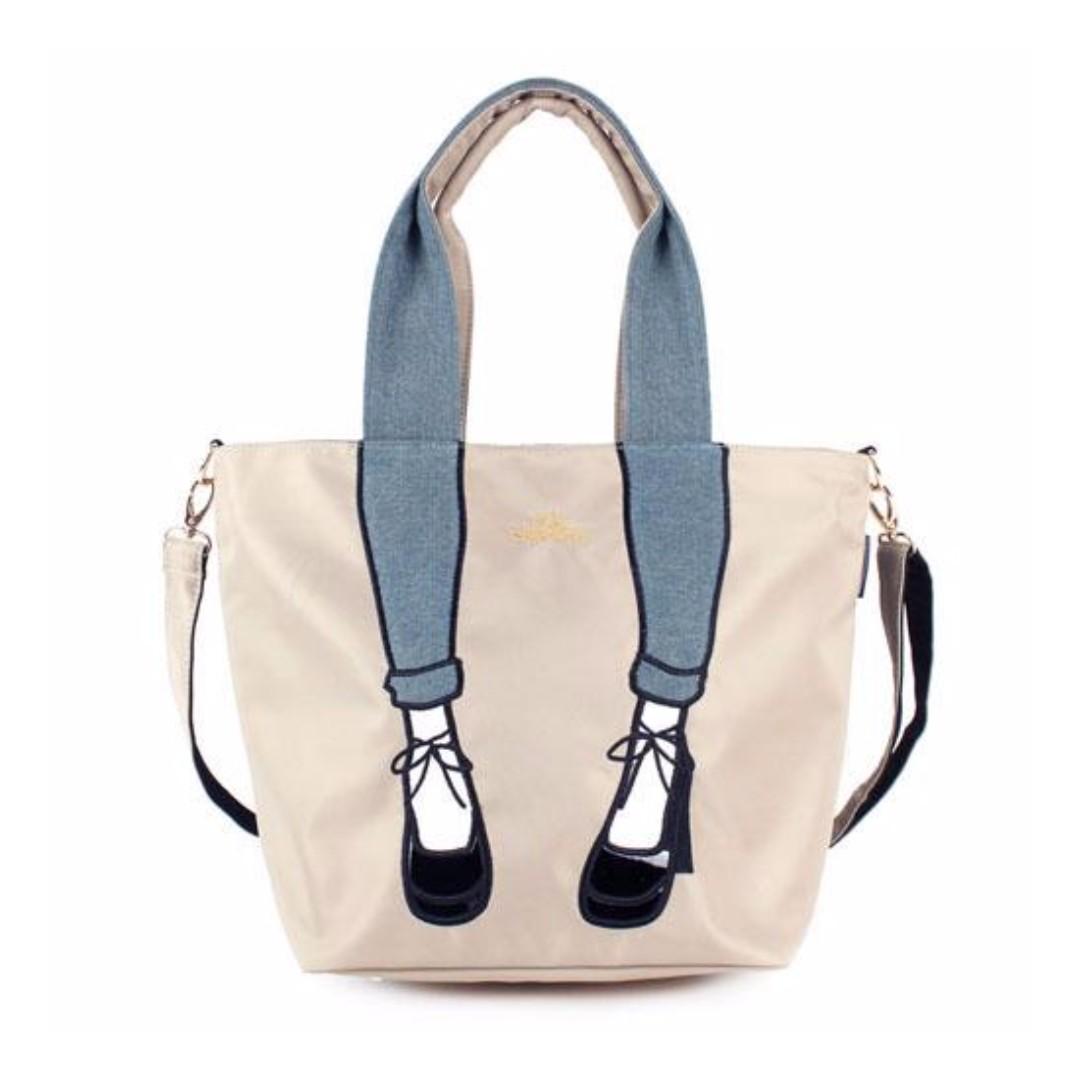 現貨 日本 Mis zapatos 高跟鞋包 腳包  2way包 肩背 斜背包 卡其色
