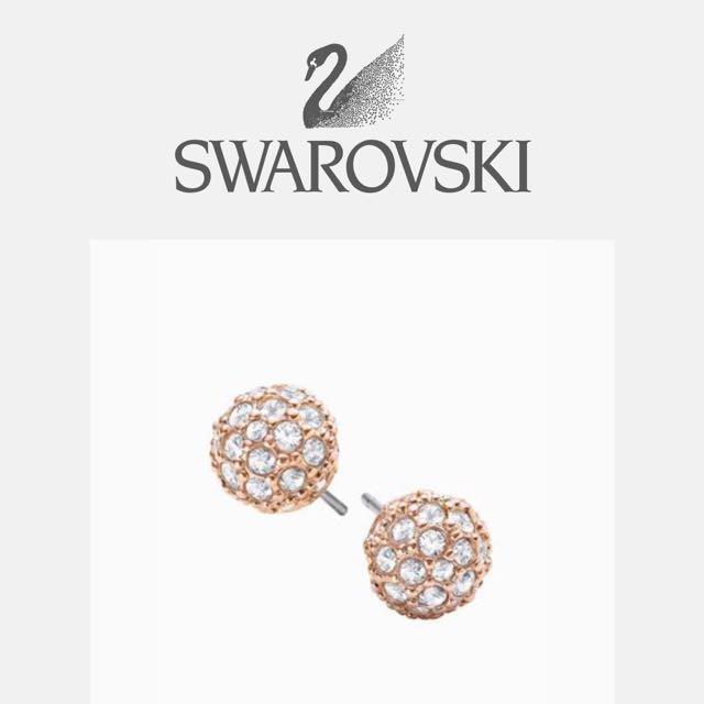 🎁 全新 SWAROVSKI 施華洛世奇 專櫃 水晶 耳針 耳環 玫瑰金 正貨