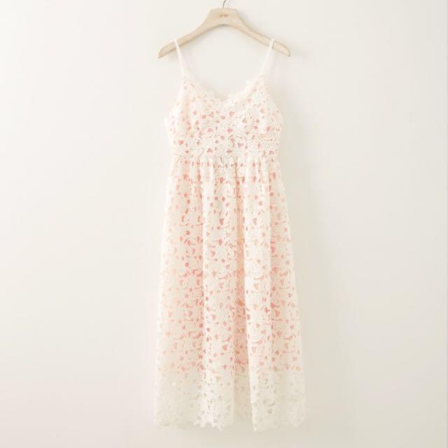 唯美 LOVFEEF 細肩帶 洋裝 蕾絲 白色 粉色 僅穿過一次 9.9成新