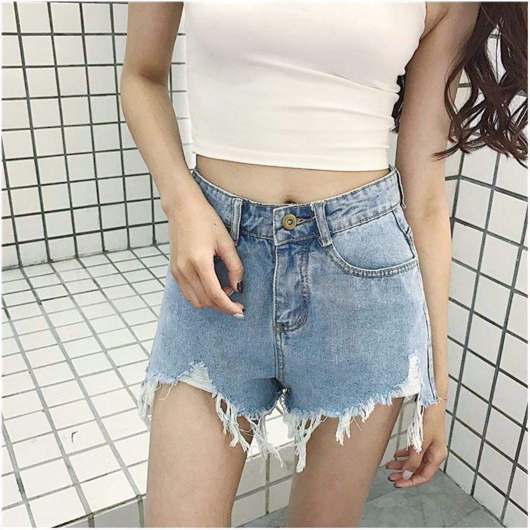 高腰顯瘦牛仔短褲 S