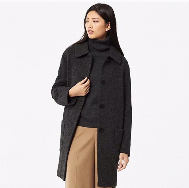 全新 uniqlo 羊毛混紡繭型大衣 L