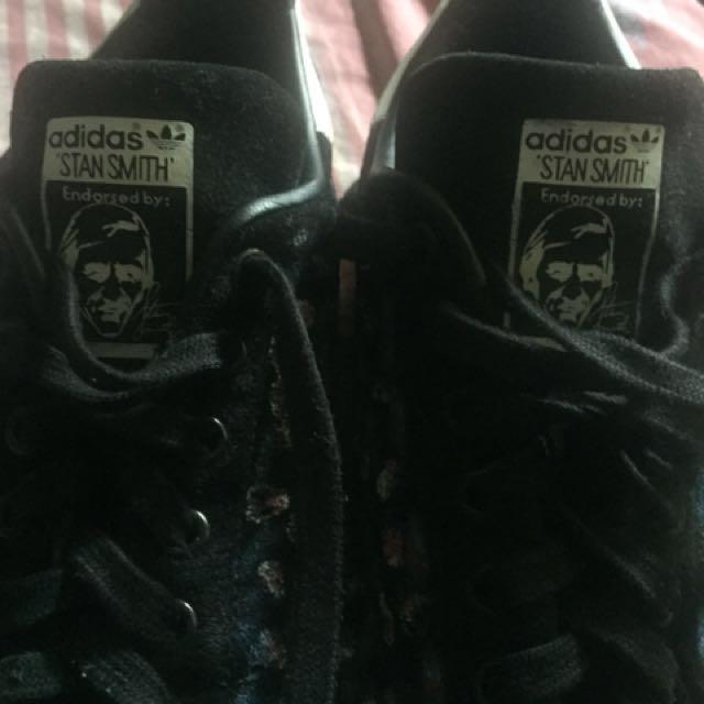 Adidas stan smith black suede