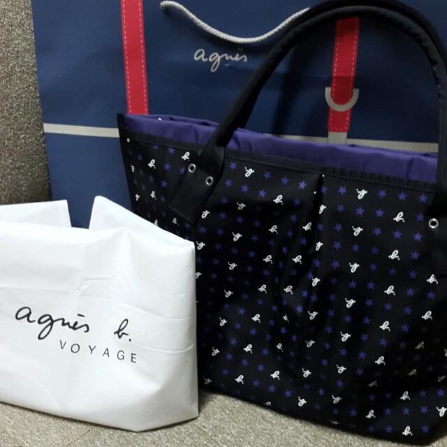 Agnes b. 日本限量 全新 星星款 深紫色 小b 三層 水餃包/ 手提包 #手滑買太多