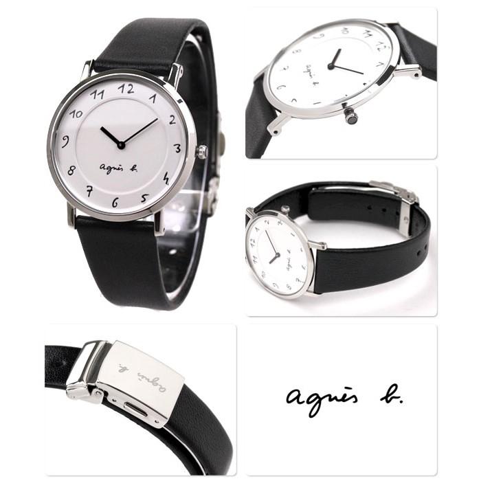 agnes b 藝術手繪刻度 時尚皮帶腕錶-黑x白/BG4001P1/7N00-0BC0S