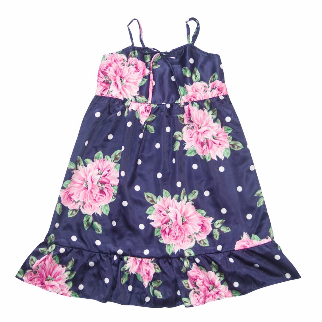 Baby Steps Babydoll Dress Dark Blue Floral Slip Dress