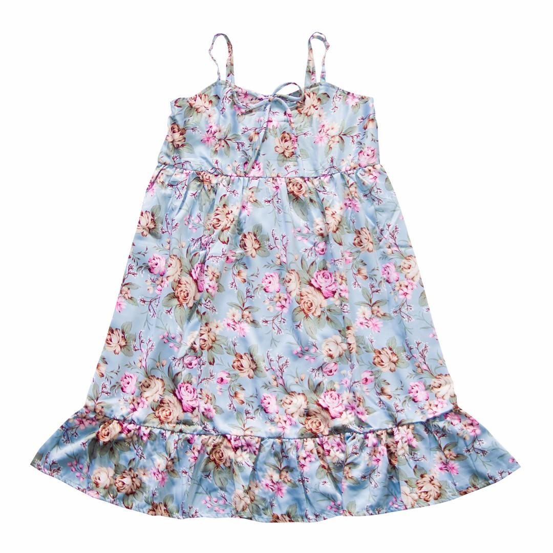 Baby Steps Babydoll Dress Light Blue Floral Slip Dress