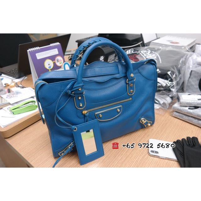 a4d242fe38eb Balenciaga Classic Metallic Edge City Bleu Goat Leather