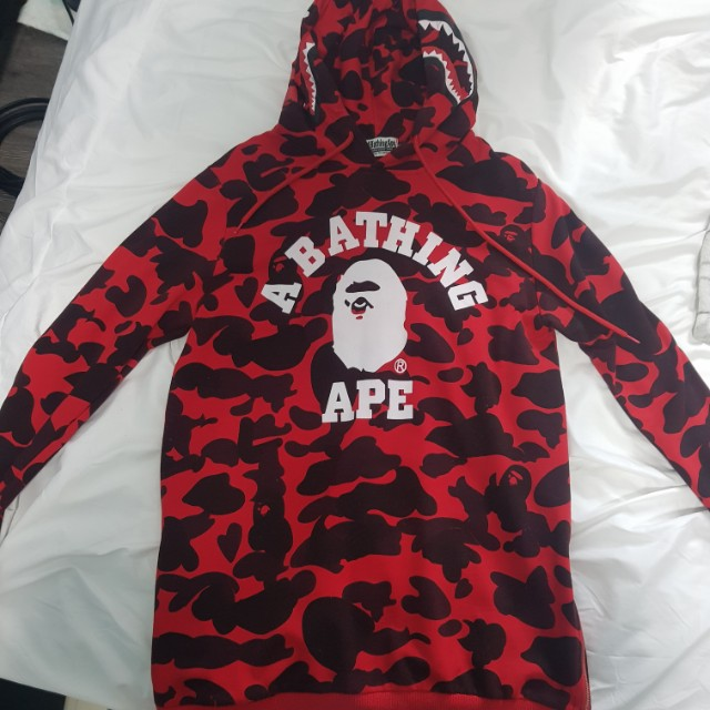 Bape Shark Hoodie Red Size M Mens Fashion Clothes On Carousell