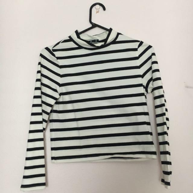Bardot striped crop top body con