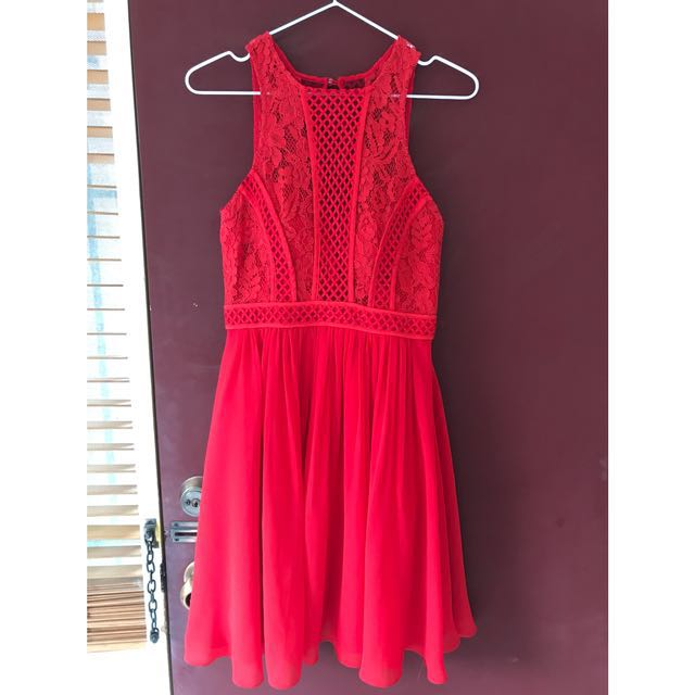 Bariano red cocktail dress size 8