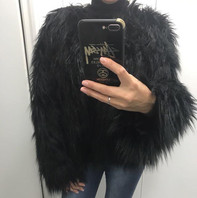Beautiful black furry jacket