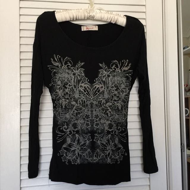 Black blouse - long sleeves, stretchable Size 8-10