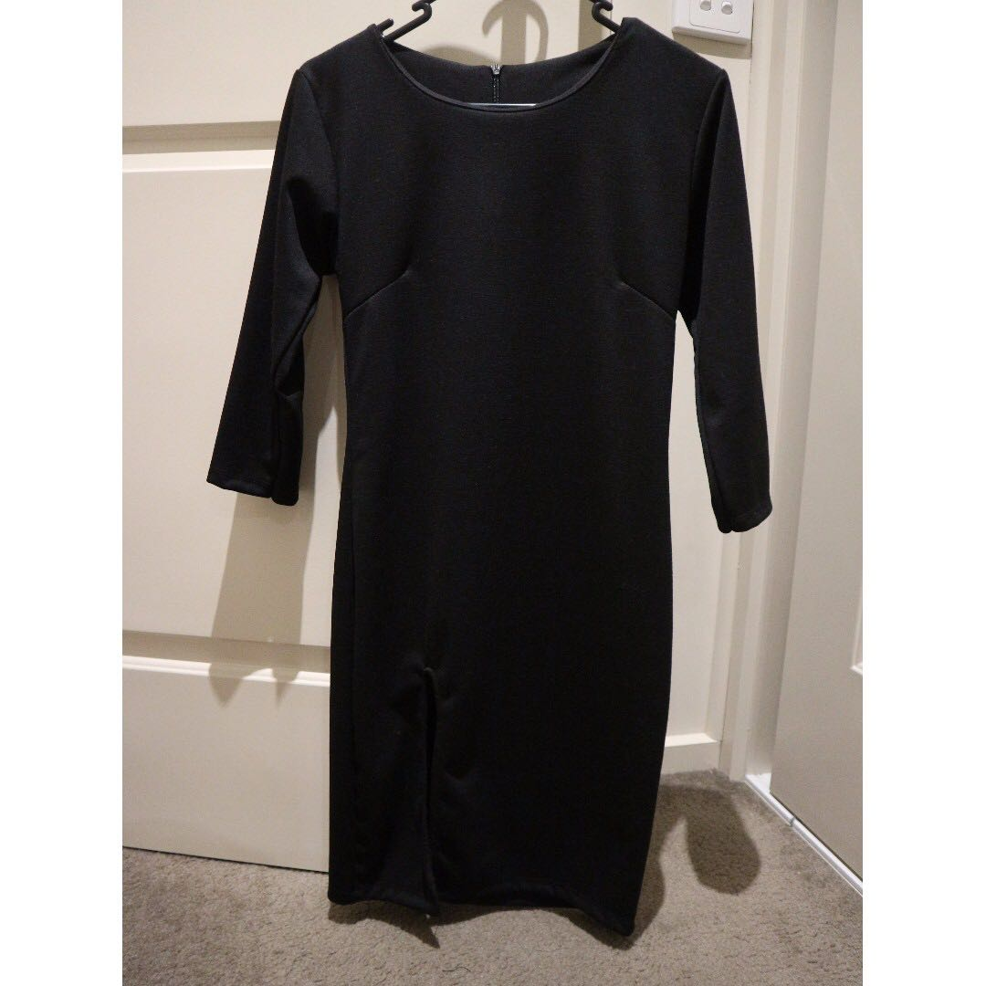 Black Dress with side split