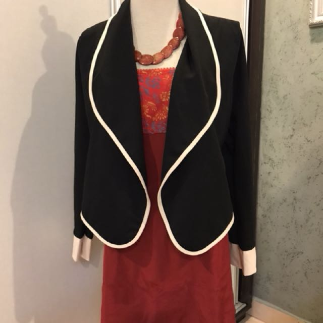Black outer with chilli red dress