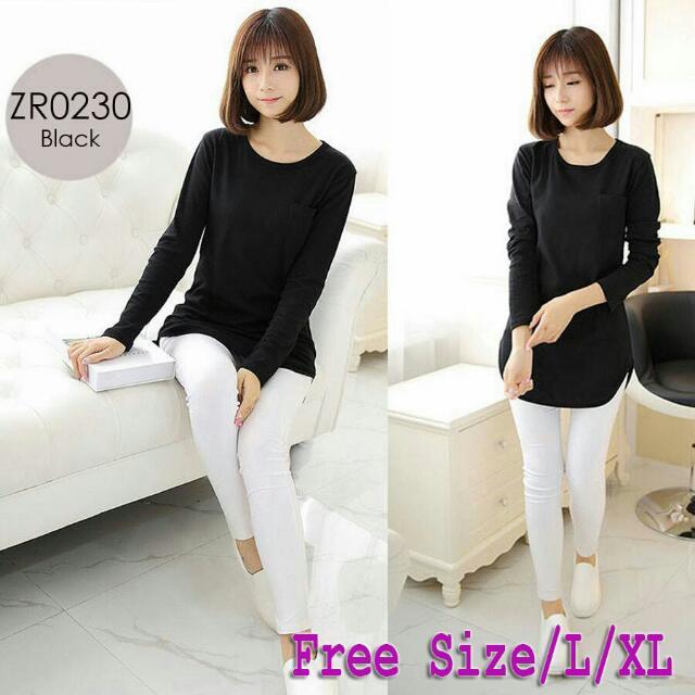 Black Plain Long Sleeve Top