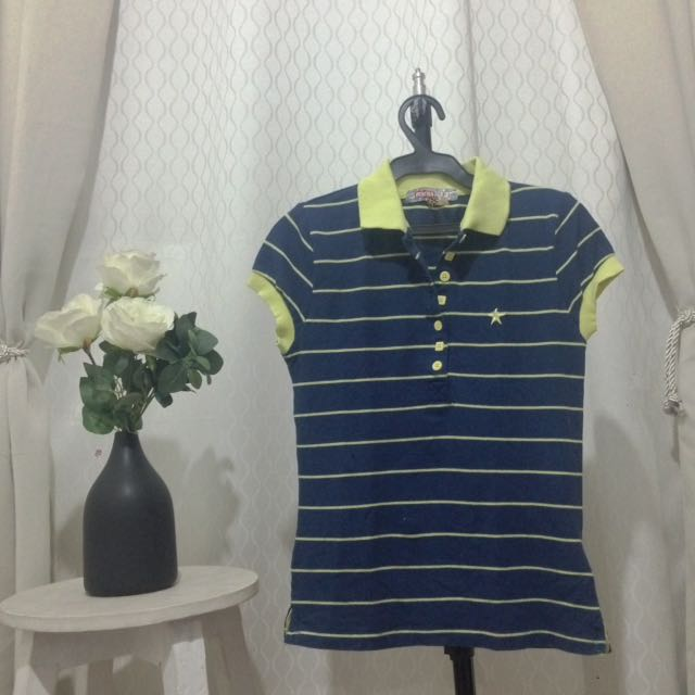 Blue and Yellowgreen Stripes Collared Shirt