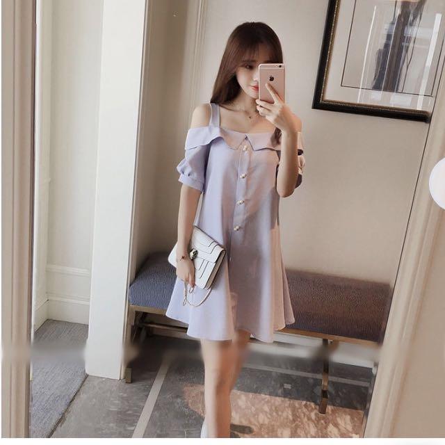 Blue strap open shoulder buttoned dress