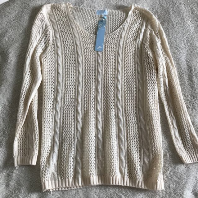 Brand new beige knit jumper top size S / M